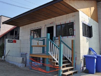 Renovations at the rear entrance of the Rossland Health Care Auxiliary Society thrift store.