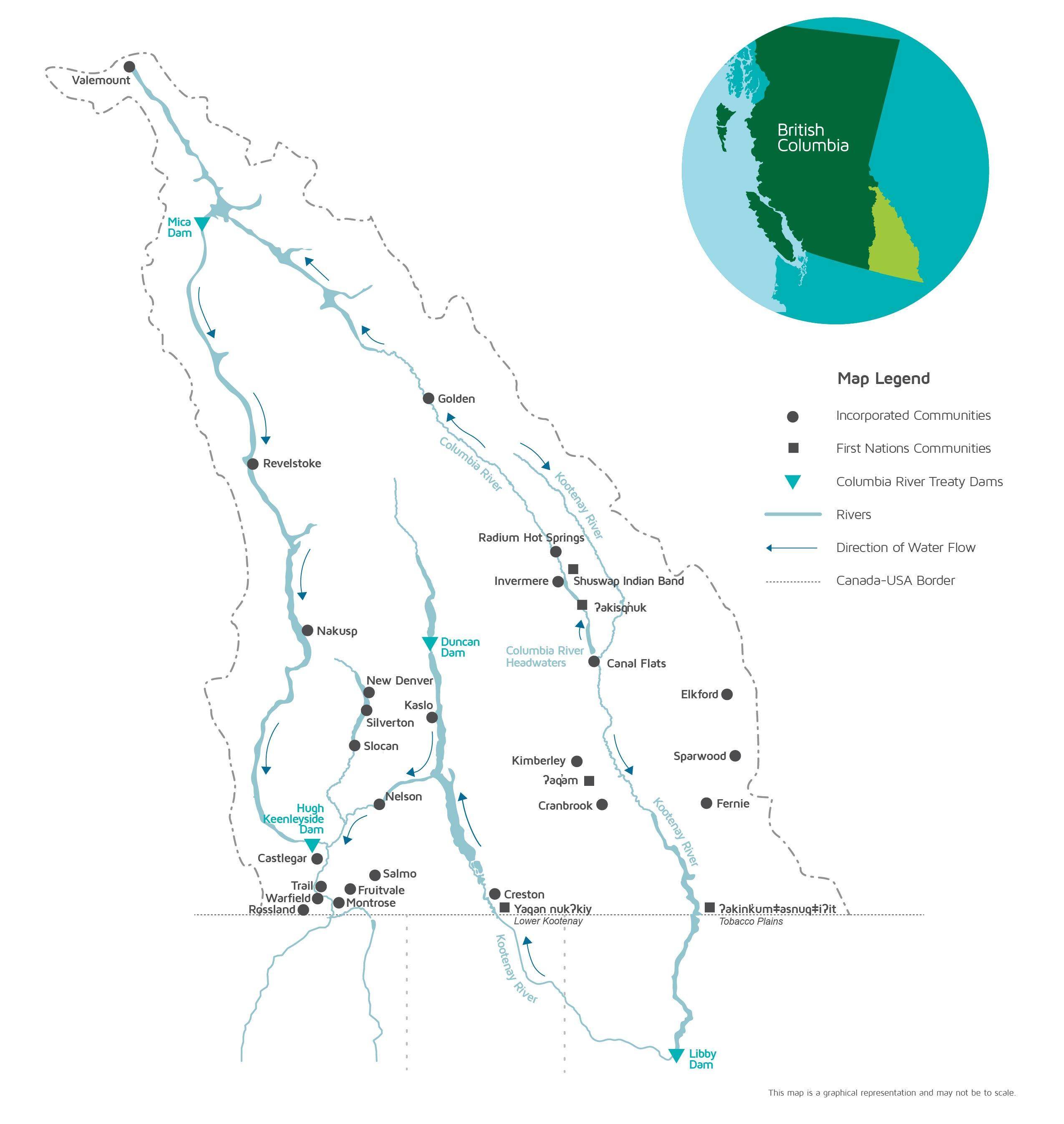 Map Of Canada British Columbia.Columbia Basin Trust Region