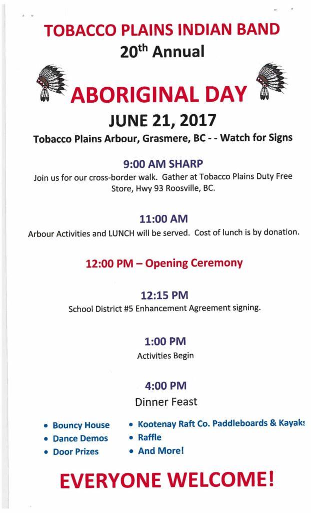 Tobacco Plains Aboriginal Day @ Tobacco Plains Arbour, Grasmere BC