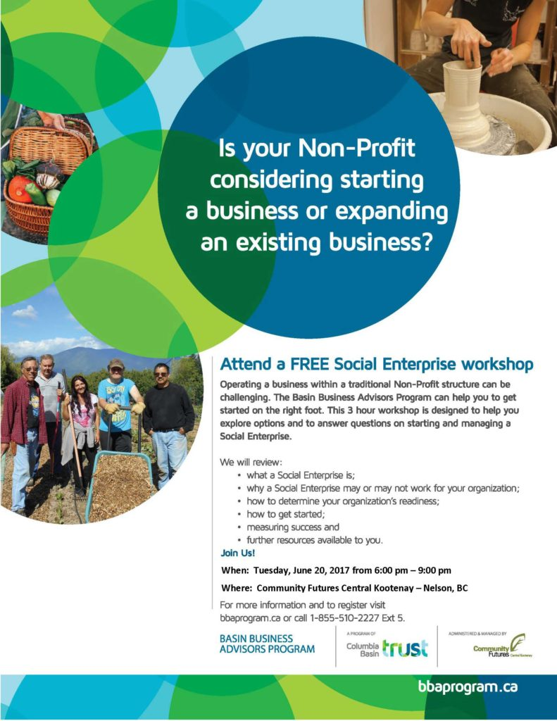 Social Enterprise Workshop in Nelson @ Community Futures Central Kootenay