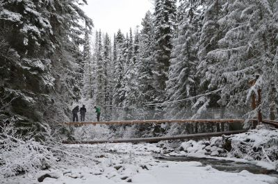 Valemount's mountain bike suspension bridge, over Swift Creek, is helping foster community recreation and health. This project was funded in part by the Trust.