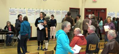 At the 2015 Dot Night, Salmo residents decided which groups and organizations would receive funding for their projects. Photo credit: Trail Daily Times