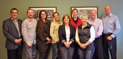 The Board of Directors of the PacificSport Columbia Basin Society. From left to right: Neil Muth, Jordan Petrovics, Karen Kettenacker, Janis Neufeld, Sandi Lavery, Glenda Newsted, Kim Palfenier and Alan Chell, plus Bill Woodley, Vice-President Business Development and Operations, ViaSport. Missing: Anthony Bell.