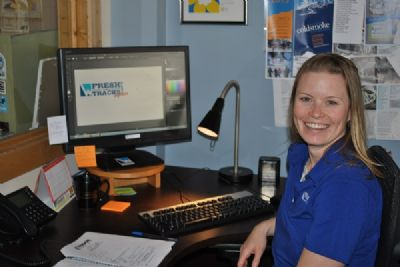 Grant recipient, Lisa Voigt, puts her graphic design training to work.