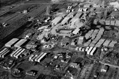 Aerial view of Wynndel Box & Lumber in the 1950s.